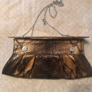 Handbags - Clutch with silver chain shoulder strap